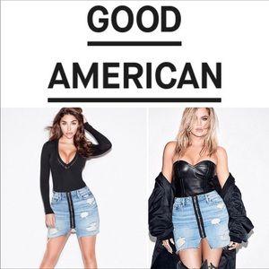 Good American Skirts - Good American Exposed Zipper Mini Denim Jean Skirt
